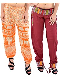 Printed Rajasthani Cotton Afghani Trouser Harem Pants (Combo Pack Of 2 Pcs) For Unisex With Elastic Waist Band - B0784SXTNS
