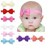 EROSPA® Stirnband mit Schleife für Baby Kleinkind Haarband elastisch Bowknot Fotografie Taufe Geschenk Schmuck 8 verschiedene Farben Unisex (Weiß)