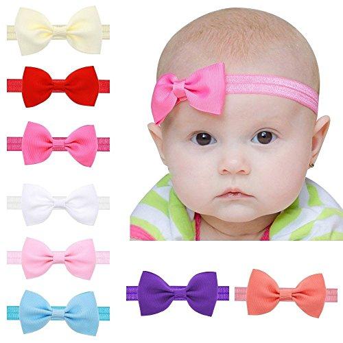 EROSPA® Stirnband mit Schleife für Baby Kleinkind Haarband elastisch Bowknot Fotografie Taufe Geschenk Schmuck 8 verschiedene Farben Unisex (Hellblau)