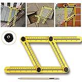 Angle-izer Template Tool Règle Multi - angle, LEDOWP Instrument de mesure multifonction en ABS, modèle de Règle à angles Mesure toutes les angles et formulaires pour Établis, Constructeurs, Artisans