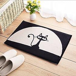 Felpudo Entrada Polister Alfombras Alfombrita Tejido Antideslizante y Absorbente, 40x60 cm (Negro Gato)