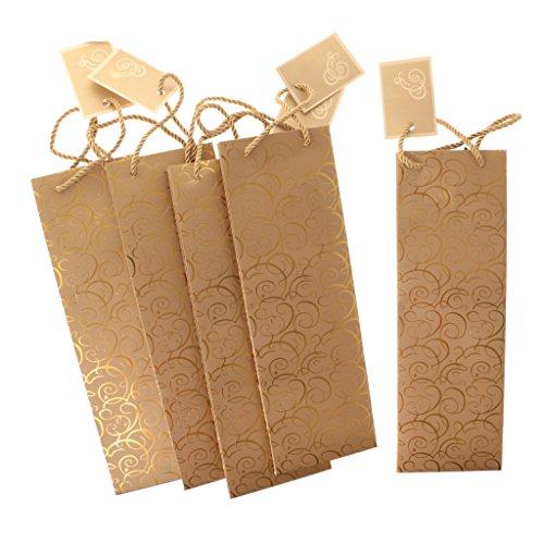MagiDeal Flaschenbeutel, aus Papier, 5 Stücke Set, Wein Flaschen Beutel, Wein Geschenkbeutel, 11,5 x 10 x 35,5 cm - Gold (5 Wein-set Stück)