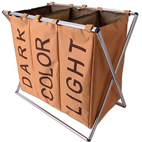 teprovo Wäschesammler 3 Fächer Wäschebox Schmutzwäschebehälter Wäschesortierer Laundry in Canvas Leinenoptik mit 3x45 Liter beige 4 Faltbare Stoff Baskets