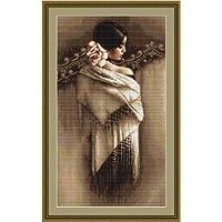 Luca-S LB468 - Kit de punto de cruz contado, 45 x 25,5 cm, diseño de dama española con mantón blanco