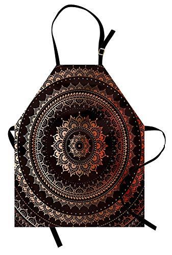 Mandala-Schürze, magischer Kreis nahöstliche ägyptische folkloristische Kultur-Muster, Unisexküchen-Latzschürze mit justierbarem Hals für das Kochen backend Gartenarbeit, dunkelbraun und orange
