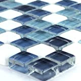 Glas Marmor Mosaik Fliesen Blue Mix 15x15x8mm