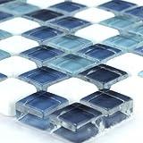 Glas Marmor Mosaik Fliesen Blue Mix 15x15x8mm