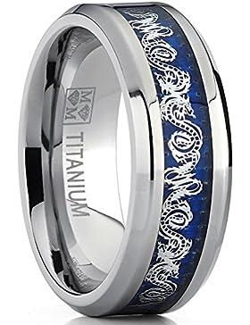 Ultimate Metals Co.® 8MM Herren Titan Ehering mit Drachen-Design über blauen Carbon Fiber-Einsätze, Bequemlichkeit...