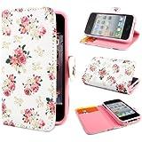 Leathlux E49 Blume Wallet PU Leder Tasche Schutzhülle Skin Case Cover Hülle Schale Etui für Apple iphone 4 4S