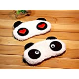 24x7 eMall Soft and Comfortable Fabric Dreamy Eyes Black-out Design Heart Panda Sleeping Eye Mask, (White) - Set of 2