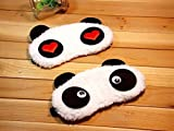 #5: 24x7 eMall Soft and Comfortable Fabric Dreamy Eyes Black-out Design Heart Panda Sleeping Eye Mask, (White) - Set of 2