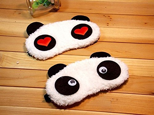 24×7 eMall Soft Fabric Heart Panda Sleeping Eye Mask for Complete Black Out – Set of 2