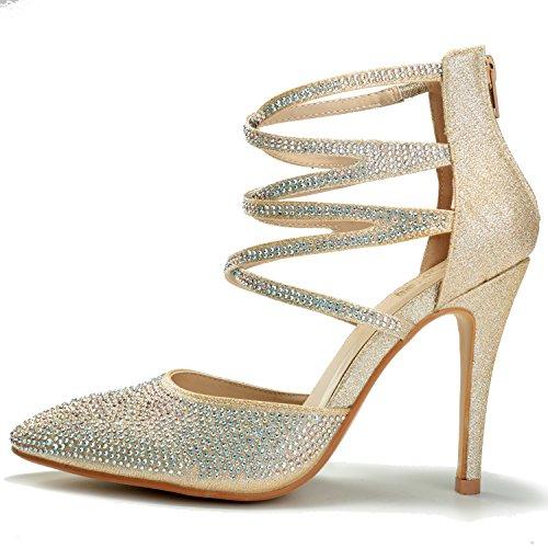 Alexis Leroy Chaussures Talon Haut fête élégante Escarpins Bride Cheville femmes Doré