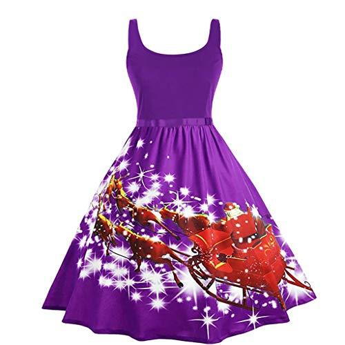 ➤Refill➤ Weihnachtskleid Damen Ärmellos Retro Elegant Spitzenkleid Festliche Cocktailkleider Party Rockabilly Kleid Knielang Kleider