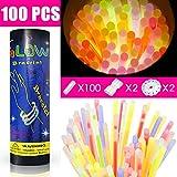 Pulseras fluorescentes, Aodoor 100 Pulseras luminosas glow pack barras luminosas 5 colores