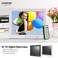 Andoer 10 بوصة HD إطار صور رقمي ألبوم عرض صور سطح المكتب صورة 1080P MP4 فيديو MP3 صوت TXT ساعة تقويم دعم التشغيل التلقائي مع التحكم عن بعد بالأشعة تحت الحمراء / 7 مفتاح يعمل باللمس / 14 لغة/حامل