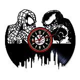 Make Beauty Wanduhr aus Vinyl, mit kreativer CD, handgefertigt, Retro-Poster, Spiderman vs. Venom