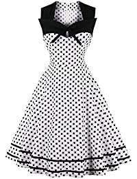 vkstar® Vintage Años 50 Vestido de cóctel manga corta para vestido de noche con puntos