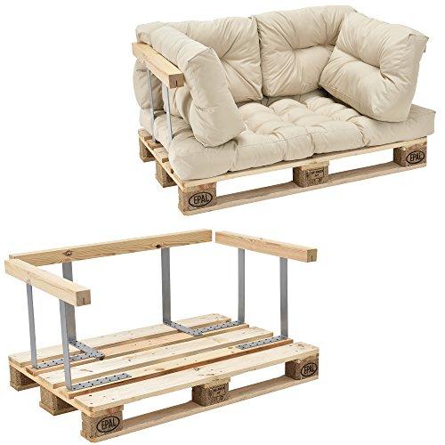 [en.casa]®] Sofá de palé - europalé de 2 plazas con Cojines - (Beige/Crema) Set Completo, incluidos apoyabrazos y Respaldo