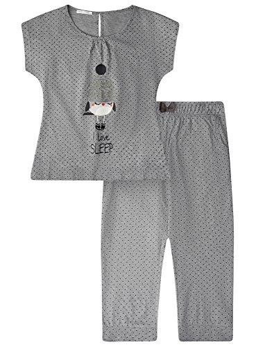oodji Ultra Damen Schlafanzug mit Capri-Hose und T-Shirt mit Aufdruck Grau (2325P)