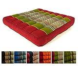 Kapok Sitzkissen 50x50x6,5cm der Marke Asia Wohnstudio, optimal als Stuhlauflage oder Meditationskissen, Bodenkissen bzw. Stuhlkissen (rot / grün)