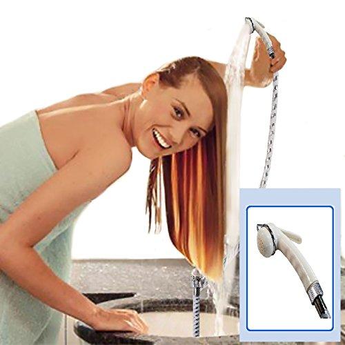 Vetrina del Benessere Shut off Doccetta Portatile per Lavandino con Pulsante Fermaflusso e Tubo da 100 cm, Doccia Lavatesta per Shampoo, Doccia per Campeggio Camper Giardino