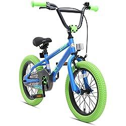 "BIKESTAR Bicicleta Infantil para niños y niñas a Partir de 4 años | Bici 16 Pulgadas con Frenos | 16"" Edición BMX Azul Verde"