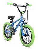 BIKESTAR Freestyle Sicherheits Kinderfahrrad 16 Zoll für Mädchen und Jungen ab 4-5 Jahre ★ 16er Kinderrad Kinder BMX ★ Fahrrad für Kinder Blau & Grün