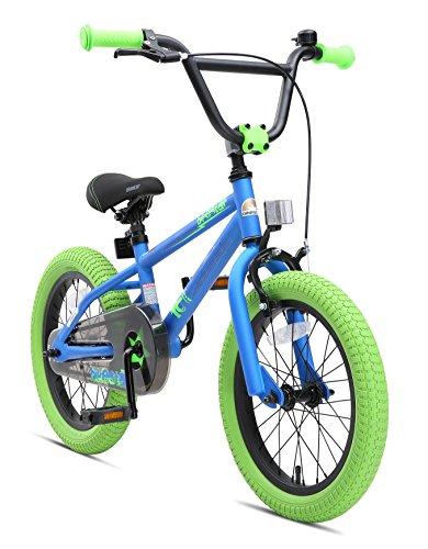 BIKESTAR Sehr leichtes Kinderfahrrad für Mädchen und Jungen ab 4-5 Jahre | 16 Zoll Kinderrad Kinder BMX Freestyle | Fahrrad für Kinder Blau & Grün
