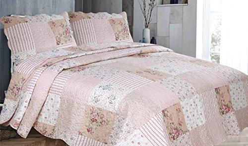 Cotton Mode Couvre-lit/édredon matelassé à patchwork en polyester à motif imprimé - Rose Rosslyn, 220 x 240 cm