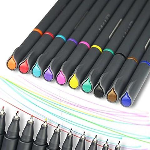 WCOCOW 10 Couleurs FineLiner Set, 0,38 mm fine Line Fineliner Couleur coloré Pen Feutres de Coloriage Stylo à Dessin Feutres Pointe Fine pour écriture pour Adultes ou Enfants(Fine Tip)