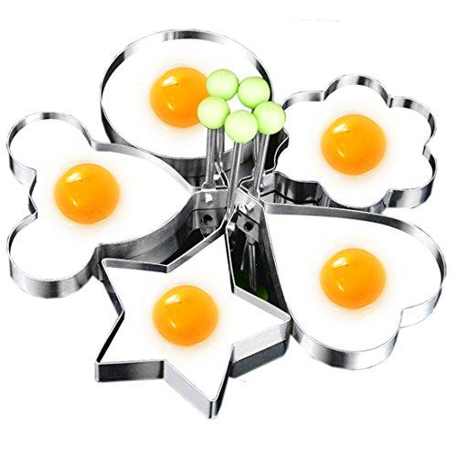 Ndier Acero Inoxidable Anillo de huevo pancake Mold, redondo anillos de huevos molde