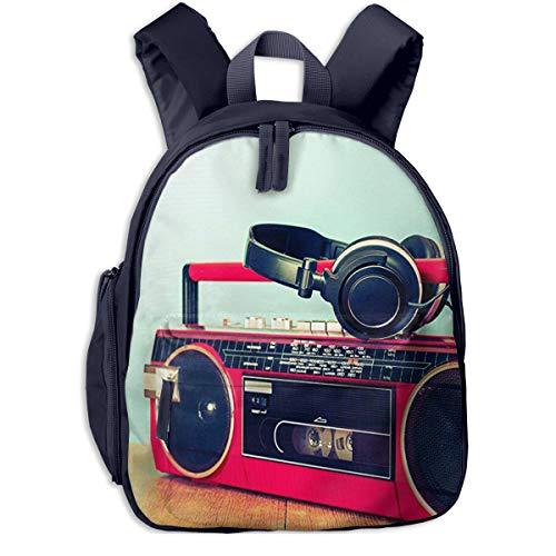 Kinderrucksack Retro Ghetto Blaster Kassette, Schulrucksack für Mädchen und Jungen Schultasche Schulranzen Teenager Backpack Daypack Freizeitrucksack Kinder Rucksack