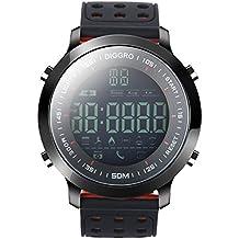 Diggro DI04 reloj inteligente IP68 impermeable Smartwatch 5ATM pedómetro mensaje recordatorio 8 meses de tiempo de espera larga al aire libre para Android IOS (negro+rojo, negro)