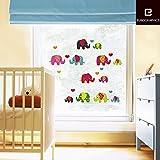 Fenstersticker Kinderzimmer - Süße Elefanten - Trägerfolie 25 x 70 cm - 33-teilig, ergibt Motivgröße mind. 52 x 57 cm