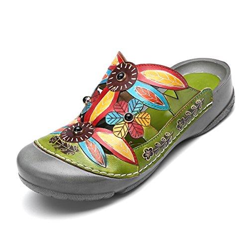 gracosy Damen Pantoletten, Sommer Sandalen Leder Pantoffel Vintage Slipper Bequeme Classic Clog Hausschuhe