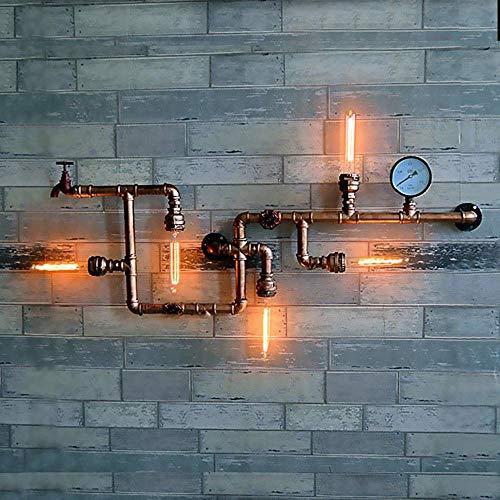 FUSKANG Applique retrò industriale a 5 luci Applique Retro Loft Steampunk lampada da parete tubo dell'acqua Bar ristorante Cafe luce decorativa commerciale