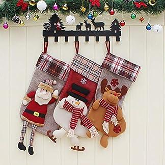 XONOR Calcetín de Navidad, tamaño Grande, 3 Piezas, 45,7 cm, diseño de Papá Noel, Reno, Chimenea Calcetines, Felpa 3D, para Decoraciones de Navidad, Suministros de Fiesta