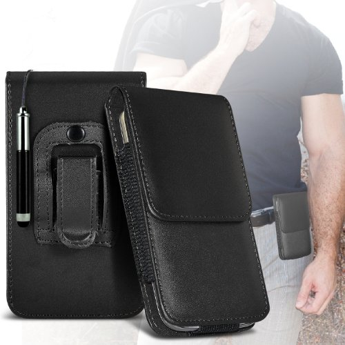 25 Schutz PU-Leder-Tasche Gürtel Magnetic Flip Case Hülle & Mini Kapazitive Retractable Stylus Pen (Schwarz) ()