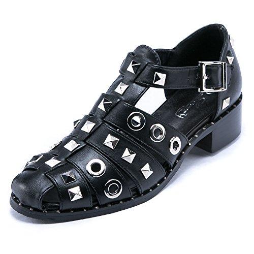 MFORSHOP scarpe donna sandali ragnetto borchie eco pelle cinturino fibbia 9306 (38, Nero)