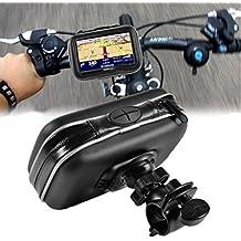 """DeliaWinterfel Soporte para móvil impermeable de cuero de 4.3"""" GPS SAT NAV para motocicleta y bicicleta"""