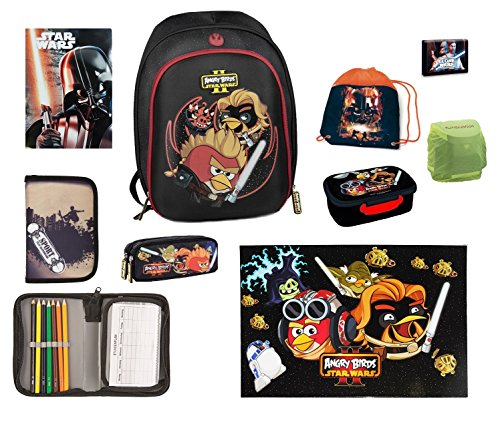 Preisvergleich Produktbild Familando Angry Birds Star Wars Schulrucksack Set 5tlg. Schlamper Dose Regen- / Sicherheitshülle 572