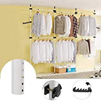 Heavy Duty Clothes Rack, Telescopic Coat Hanger Wardrobe Organiser, Hanging Rail, Garment Rack, Stainless Steel Poles and Bars, 60kg Loading per Horizontal Bar, Height Adjustable