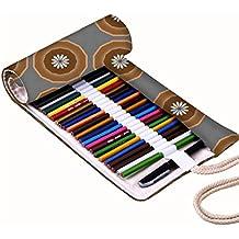 Snoogg Blanco Pequeño diseño de flores lienzo Wrap Soporte Para Rollo de papel de 48lápices de colores, funda para bolígrafo de Gel, bolsa organizadora de viaje para artista, multiusos (lápices no incluidos), 48agujeros
