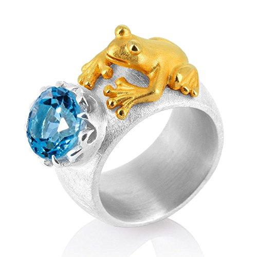 Drachenfels Luxus Damen Bandring mit Topas | Kollektion Froschkönig | Eleganter Damenring in Echtsilber | Designer-Schmuck aus 925 Sterling Silber für Damen | Gr. 58