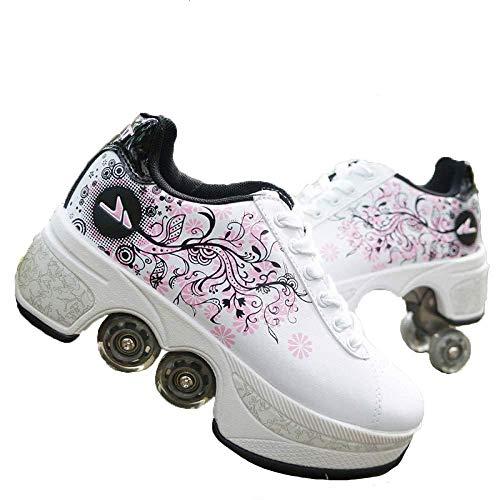 CHANGN Rollerblades, 2-in-1-Mehrzweckschuhe, Verstellbare Inline-Skates, Verstellbare Quad-Skates-Stiefel Für Anfänger Mit Stilvollem Design, Für Jungen, Mädchen, Räder, Schuhe,White-35