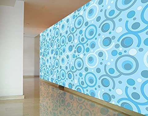 Selbstklebende Tapete Fototapete Cool Tapete Blau Hell Retro Kreise Punkte, Größe:270cm x 144cm