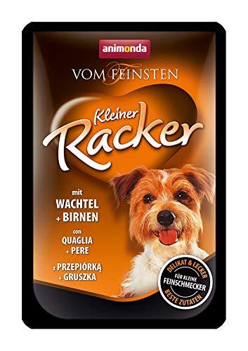 Animonda Vom Feinsten Kleiner Racker Nassfutter, für ausgewachsene Hunde von 1-6 Jahren, mit Wachteln und Birnen, 16er Pack (16 x 85 g) -
