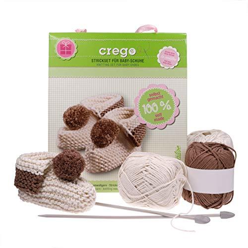 Crego Strickset für Baby-Schuhe/Babysocken Baumwollgarn, Stricknadeln, Strickanleitung