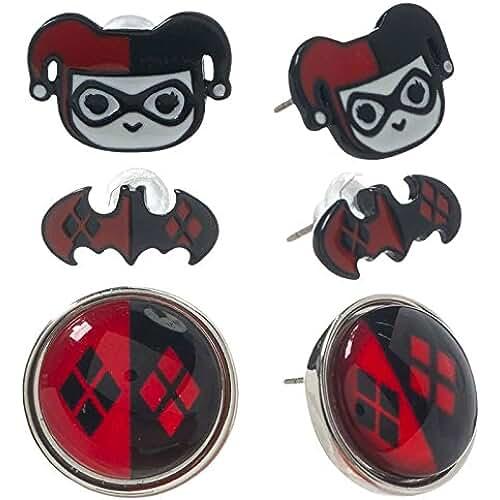 Harley Quinn juego de pendientes DC Comics joyas